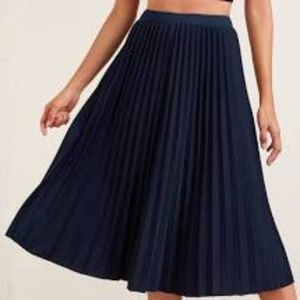 Whistles Navy Blue Satin Pleated Skirt Size 8